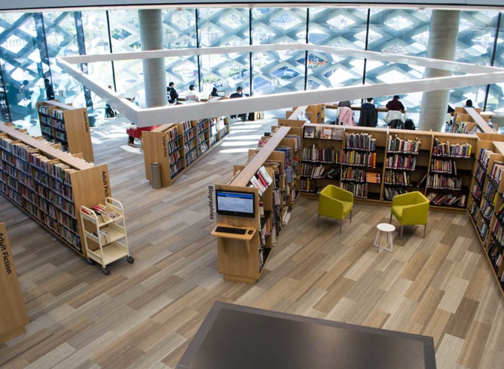 Overhead shot of Realm library