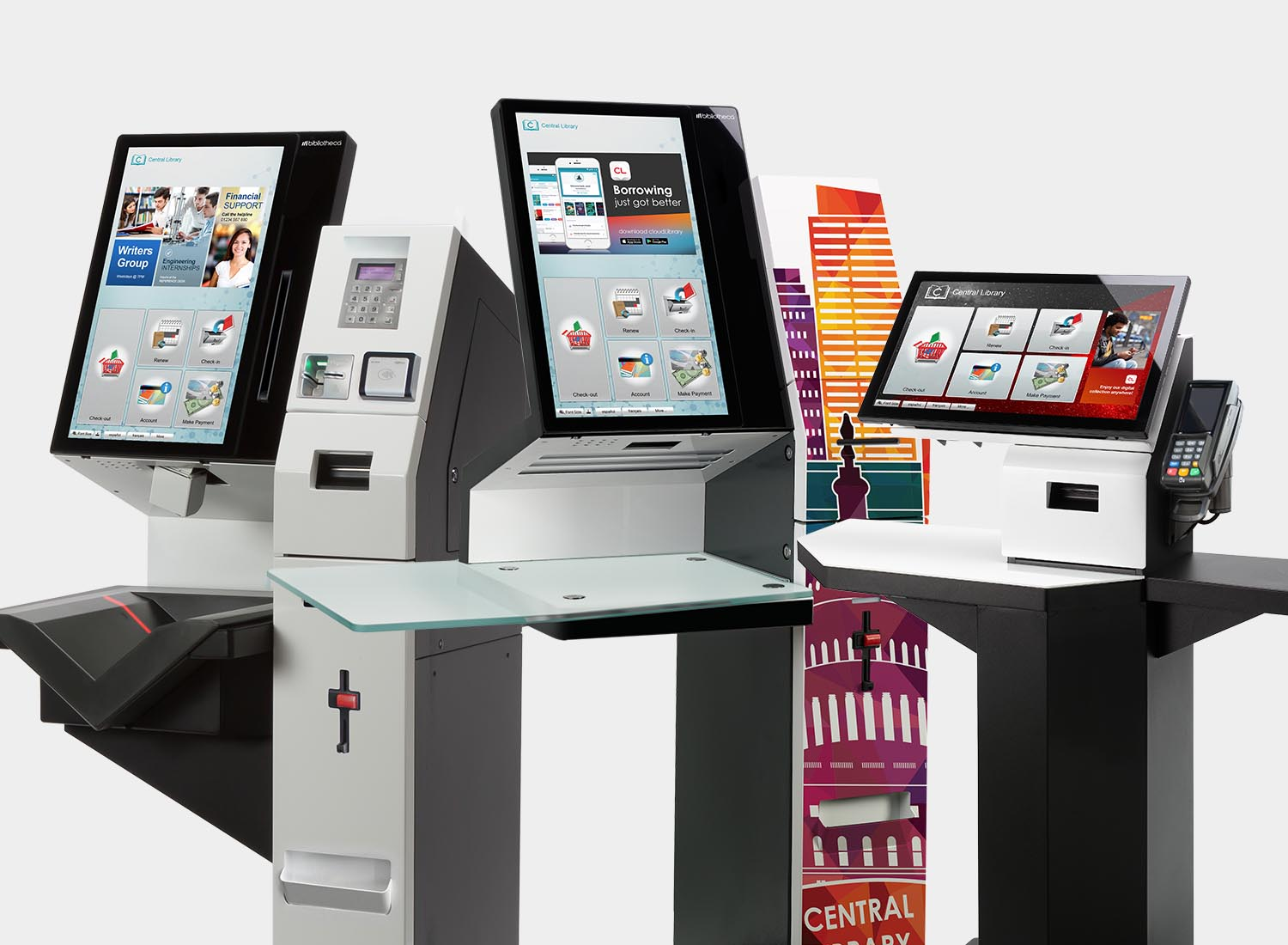Variety of library self service kiosks